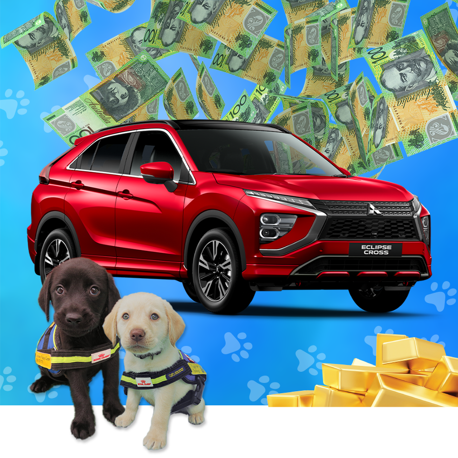 An image showing the Lucky Puppy Lottery Grand Prize, a Mitsubishi Eclipse Cross or $30,000 Cash.